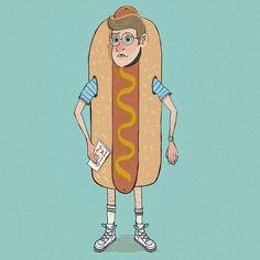 The hot dog man #nerd #loser #artwork #hotdog #80s #ilustration #drawing #retro #sketch #sketchbook #characterdesign #instaart