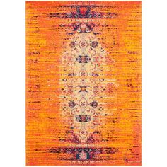 Monaco Orange/Multi 6 ft. 7 in. x 9 ft. 2 in. Area Rug