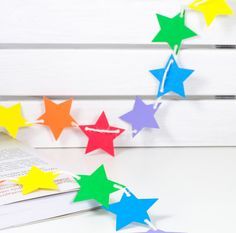 multicolor stars bunting, garland, banner for home, room, office, parties, party, children, birthday, holiday, red, orange, yellow, green, blue, purple, rainbow..home, room, office, party, circus, birthday, baby girl, girls room, newborn, baptism, 1st birthday, wedding, holidays.. by 21january on Etsy.