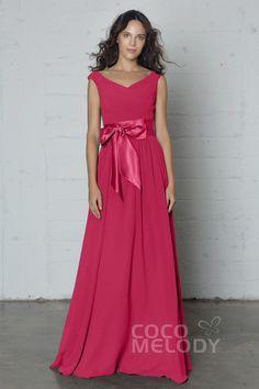 Fantastic Sheath-Column V-Neck Natural Floor Length Chiffon Sleeveless Zipper Pleating and Sashes PR17017#Cocomelody#Bridesmaid dress#Bridesmaidgowns#