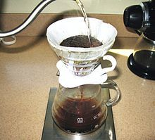 In a pour-over, the water passes through the coffee grounds, gaining soluble compounds to form coffee. Insoluble compounds remain within the coffee filter.