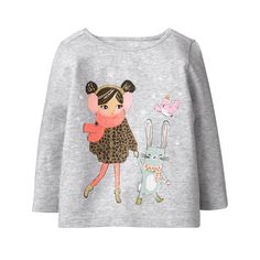 Toddler Girl Heather Grey Sparkle Pals Tee by Gymboree