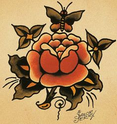 Sailor Jerry 54 (by FAMILIAR STRANGERS Tattoo Studio - Singapore)  No butterfly, like the muted colours