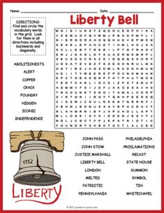 LIBERTY BELL Word Search Puzzle Worksheet Activity by Puzzles to Print Fun Activities For Kids, Worksheets For Kids, Crossword Puzzles, Early Finishers, Word Search, Liberty, Homeschool, The Unit, Teaching