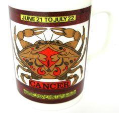 Zodiac Cancer Crab Coffe Tea Mug Royal Crown by Elena June 21 - July 22