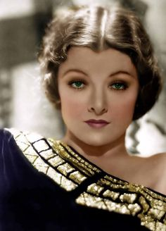 """MYRNA LOY ~ Born: Aug 2,1905. Died: December 14, 1993 (aged 88) of complications from surgery. She was discovered by Mrs. Rudolph Valentino: Natacha Rambova' & given a part in pictures. At the end of the silent era, Myrna Loy started her career as an exotic, femme fatale. Her first film was """"What Price Beauty?"""" (1925) She had appeared in a phenomenal 129 motion pictures. Her final public appearance was in 1991 when she received her lifetime achievement award during 63rd Annual Academy Awards"""