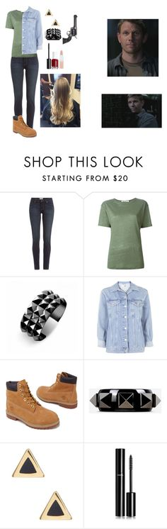 """""""Genderbend lucifer-spn"""" by gglloyd ❤ liked on Polyvore featuring moda, Paige Denim, T By Alexander Wang, Waterford, Topshop, Timberland, Valentino, Ariella Collection, Chanel y Essie"""