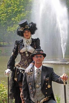 Yvonne Muller and Husband, Steampunk Convention anno 1900 Luxemburg, Photographer-Jorg Steampunk Cosplay, Chat Steampunk, Corset Steampunk, Viktorianischer Steampunk, Design Steampunk, Steampunk Halloween, Steampunk Wedding, Steampunk Clothing, Steampunk Fashion