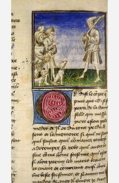 Tristan és a pásztorok , Tristan de Léonois (BNF Fr. 97, fol. 136v), az első negyedévben a 15. században