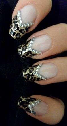 Animal printed nails with rhinestones