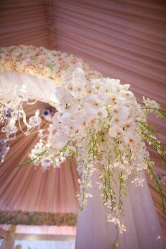 Royal   David Tutera. #Ceremony Aisle Decor #wedding #ballroom #blue #white #chandelier #elegant