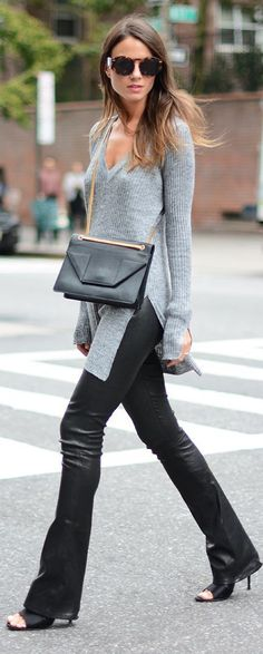 Black Leather Pants + Grey Long Sleeve Sweater by Fashion Chic