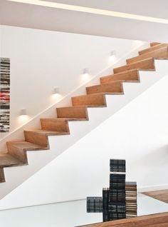 wood cap zigzag stairs