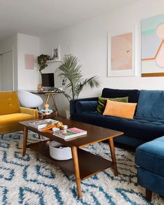 Sven Cascadia Blue Right Sectional Sofa - Sectionals - Article Blue Couch Living Room, Living Room Sectional, New Living Room, Blue Yellow Living Room, Yellow Sofa, Sectional Sofas, Blue Sectional, Blue Couches, Small Living