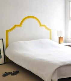 Faux headboard- paint this design on burlap wall behind beds.