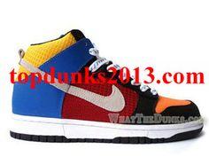 low priced d3d65 8070b Good Orange Red Blue Multicolor Nike Dunk High Top Supreme