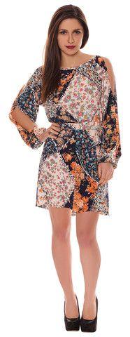 Alison Multicoloured Navy Orange Floral Crepe Style Cut Out Cold Shoulder Belted Shift Dress