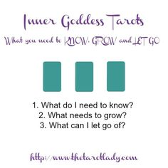 Tarot Spread Test Drive - Inner Goddess Tarot's What you need to KNOW, GROW, and LET GO. A great tarot spread when you need to let go of something!