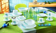 """Bring the pleasure of blue skies to your table with Luminarc's """"Country Flower Blue"""" collection! #Luminarc #Collection #Dinnerware"""