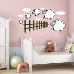 kids room counting sheep wall art from next wall stickers