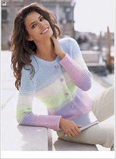 drops pullover in vivaldi free Summer Knitting, Hand Knitting, Crochet Blouse, Knit Crochet, Ropa Color Pastel, Crochet Classes, Knitting Magazine, Cardigan Pattern, Knitting Accessories