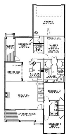 Country House Plan 62080 Level One