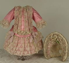 Wonderful Antique Silk Satin French Bebe Couturier Costume and Bonnet for JUMEAU, BRU, STEINER other FRENCH BEBE. Fine antique pink silk satin French