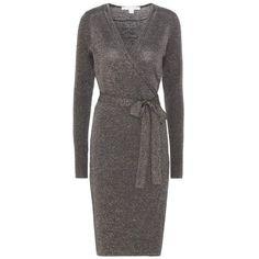 Diane von Furstenberg Evelyn Wool-Blend Wrap Dress ($360) ❤ liked on Polyvore featuring dresses, blue, diane von furstenberg dress, wrap dress, blue color dress, blue dress and diane von furstenberg