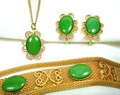 Faux Jade Vintage Jewelry Set Green Glass Bracelet, Earrings, & Pendant with Chain