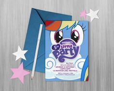 My Little Pony Party, Rainbow Dash printable invitations and lolly bag tags - My Little Pony theme, Rainbow Dash invite / Rainbow Dash Party by MontyandMeShop Cumpleaños Rainbow Dash, Rainbow Dash Birthday, My Little Pony Birthday Party, 4th Birthday, Birthday Party Themes, My Little Pony Cumpleaños, Fiesta Little Pony, Little Poney, My Little Pony Invitations