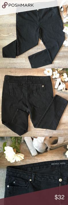 Michael Kors Black Jeans size 22 W Super cute and classy black Michael Kors skinny jeans! In great condition. 74% cotton, 25% polyester, 1% spandex. Size 22 W. See images for measurements. Michael Kors Jeans Skinny