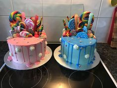 Lovely Lolly Decorated Cake for Boy Girl Lolly Drizzle Cake - Candy Drip Cake In 2019 Image Birthday Drip Cake, Twin Birthday Cakes, Candy Birthday Cakes, Candy Cakes, Cupcake Cakes, Cupcakes, 5th Birthday, Birthday Ideas, Happy Birthday