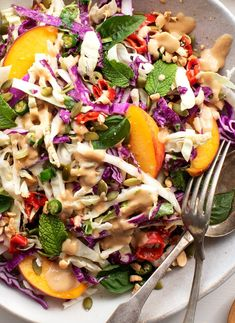 Summer Asian Slaw Spicy Ginger Miso Slaw with Peaches A produce-packed summer slaw with tangy ginger miso dressing perfect for lunches picnics and BBQs loveandlemons slaw recipe vegan Best Salad Recipes, Slaw Recipes, Summer Salad Recipes, Healthy Recipes, Basil Recipes, Picnic Recipes, Healthy Lunches, Healthy Salads, Healthy Eating