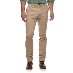 Men's SONOMA Goods for Life™ Slim-Fit Flexwear Stretch Chino Pants, Size: 33X30, Beig/Green (Beig/Khaki)