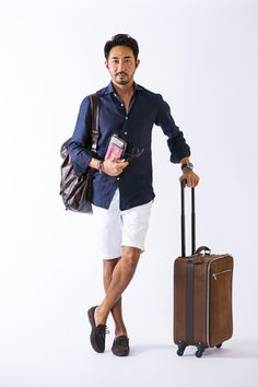 Casual summer travel inspiration with a navy button up shirt with sleeves rolled up leather backpack white shorts watch with brown suede loafers leather roller bag Brown Suede Loafers, Casual Outfits, Men Casual, Menswear, Mens Fashion, Dresser, Clothes, Summer Travel, Casual Summer