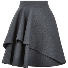 Alexander McQueen Double Layer Flare Skirt (1 235 AUD) ❤ liked on Polyvore featuring skirts, mini skirts, bottoms, saias, faldas, flared skater skirt, layered ruffle skirt, mini skater skirt, frilly skirts and skater skirts