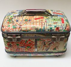 Vintage Decoupage Suitcase /Makeup kit by ByGeorgeHome on Etsy