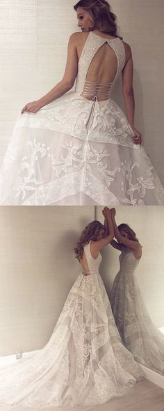 Open Back Wedding Dresses Aline Scoop Appliques Beautiful Long Train Lace  Bridal Prom Dresses 2018 1d6bad5cab47