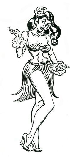 "michaelallanleonard: ""Hula Girl by Mitch O& "" Hula Girl Tattoos, Pin Up Tattoos, Hawaii Tattoos, Tiki Tattoo, Surf, Vintage Tiki, Tiki Art, Chicago Artists, Fantasy Island"