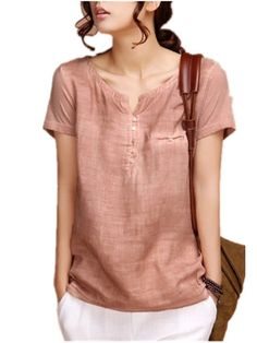 Sarriben Womens Summer Soft Loose Short Sleeve Linen Shirts Blouse Tops V Neck at Amazon Women's Clothing store: