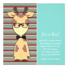 Adorable red, black and teal blue nerdy giraffe wearing geeky black glasses and bow tie baby boy shower invitation. This cute nerdy giraffe baby shower invitation is easily customized for your event by adding your event details, font style, font size & color, and wording.