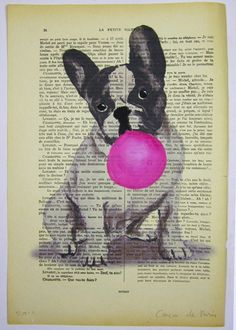 $10 French bulldog with bubblegum - ORIGINAL ARTWORK Hand Painted Mixed Media on 1920 Parisien Magazine 'La Petit Illustration' Coco De Paris