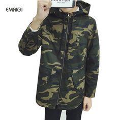 Men Long Camouflage Hooded Jacket Fashion Casual Windbreaker Coat Autumn Male Loose Outerwear Jacket #Affiliate