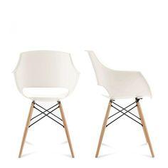 Lot de 2 chaises design Skoll Une chaise design Skoll d'inspiration 'classic design' avec son célèbre piètement en métal et bois. On la choisit en blanc légèrement ivoire, gris ou noir, trois finitions qui se marient parfaitement au bois et au métal noir de sonpiètement de style design. Une chaise moderne d'inspiration designer parfaite autour d'une table à manger contemporaine ou classique, dans une chambre, devant un bureau... Un modèle très actuel grâce au côté bimatiè...