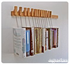 Custom made wooden book rack in Oak Movable pinsThe by OldAndCold, $199.00
