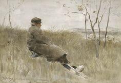 Anton Mauve - Herder kijkt naar zijn kudde