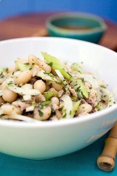 Italian Marrow Beans with Tuna, from the Rancho Gordo cookbook. It has just a few ingredients, so top-quality beans and canned tuna make it.