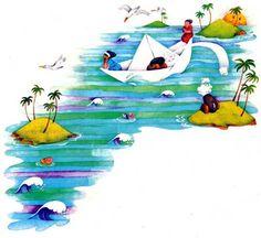 Literatura Infantil y Juvenil Dominicana: CANTO MARINO PARA UN BEBE por OMAR MESSÓN Donald Duck, Childrens Books, Disney Characters, Fictional Characters, Illustration, Classroom, Tinkerbell, Pirate Ships, Paper Boats