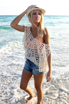 Bohemian Babe Open Shoulder Crochet Boho Top