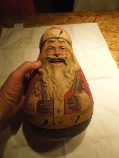 """ANTIQUE PAPER MACHE 11"""" TALL SANTA ROLY POLY NR"""